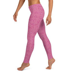 Leggings for women — Vintage Trailer Grid — Two-tone pink, left side view