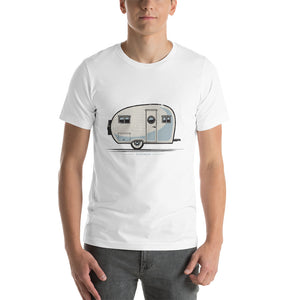 Man wearing T-shirt with vintage canned ham trailer, white.