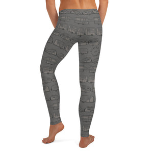 Leggings for women — Vintage Trailer Grid — Two-tone medium grey, back view