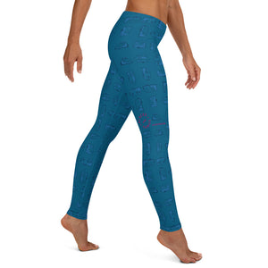 Leggings — Vintage Trailer Grid — Two-tone Blue, right side view