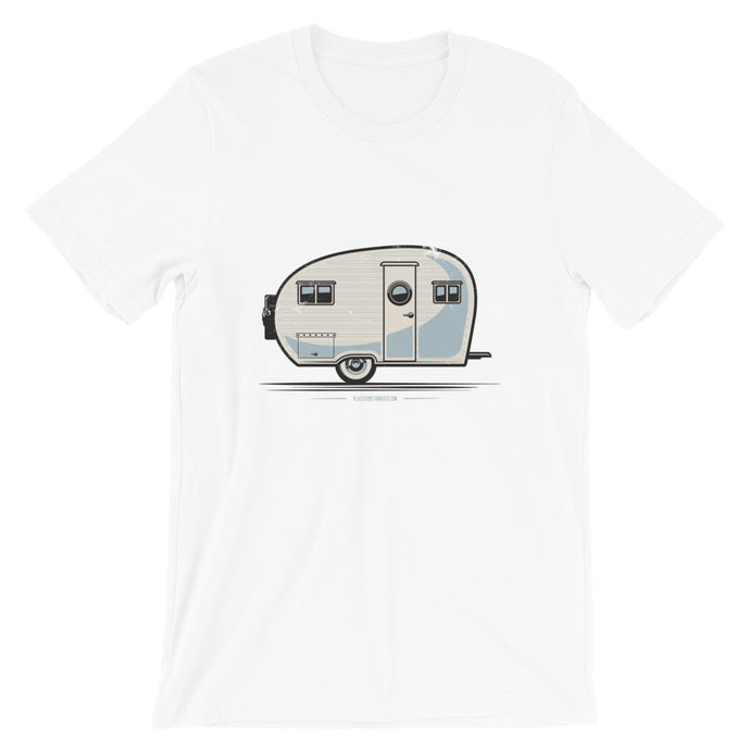 T-shirt with vintage canned ham trailer, white.
