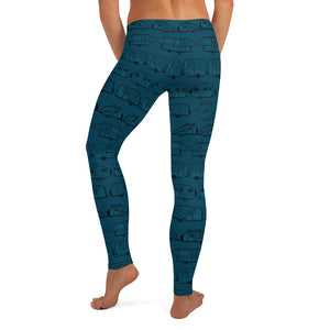 Leggings for women, Vintage Trailers, two-tone teal blue-green, back view