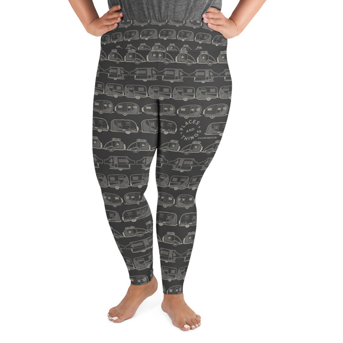 Leggings for women with curves — Vintage Trailer Grid — Two-tone dark grey, front view