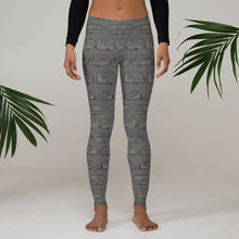 Load image into Gallery viewer, Woman wearing leggings for women — Vintage Trailer Grid — Two-tone medium grey
