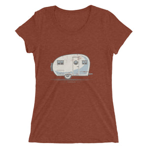 Women's T-shirt with vintage canned ham trailer, clay red.