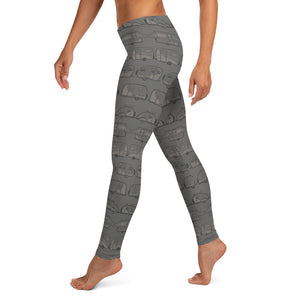 Leggings for women — Vintage Trailer Grid — Two-tone medium grey, left side view