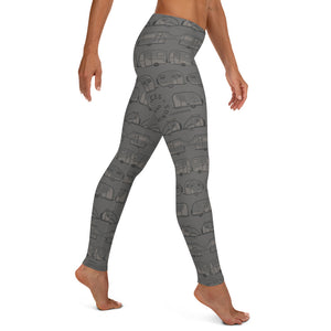 Leggings for women — Vintage Trailer Grid — Two-tone medium grey, right side view
