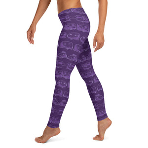 Leggings for women, Vintage Trailers, two-tone purple, left side view