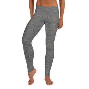 Leggings for women — Vintage Trailer Grid — Two-tone medium grey, front view