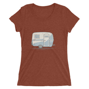 Woman's T-shirt featuring a vintage Boler trailer design, clay red.