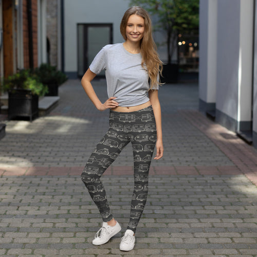 Young woman wearing leggings for women — Vintage Trailer Grid — Two-tone dark grey