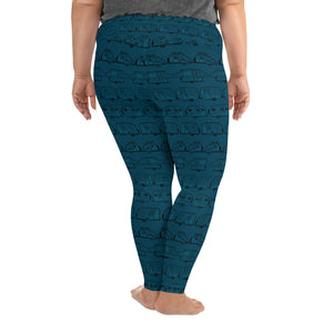 Leggings for women with curves, Vintage Trailers, two-tone teal blue-green, back view