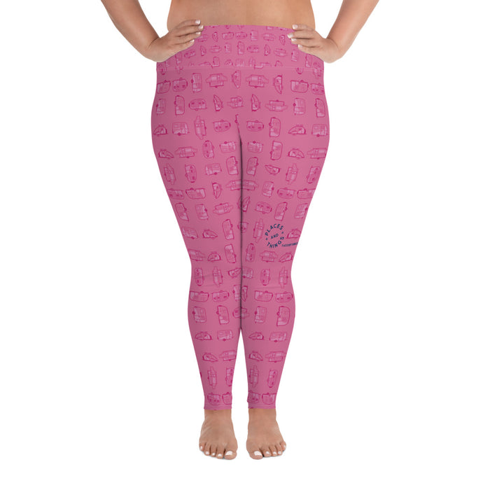 Leggings for women with curves — Vintage Trailer Grid — Two-tone pink, front view