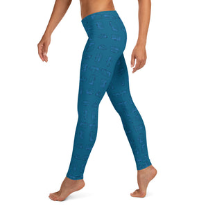 Leggings — Vintage Trailer Grid — Two-tone Blue, left side view