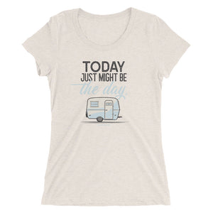 Women's retro t-shirt, vintage Boler trailer. Today Just Might Be The Day. Off-white triblend.