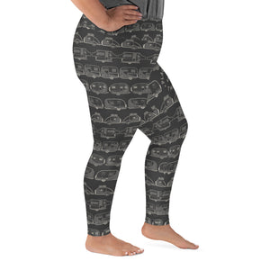 Leggings for women with curves — Vintage Trailer Grid — Two-tone dark grey, right side view