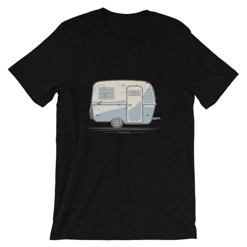 T-shirt featuring a vintage Boler trailer design, black.