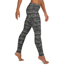 Load image into Gallery viewer, Leggings for women — Vintage Trailer Grid — Two-tone dark grey, right side view