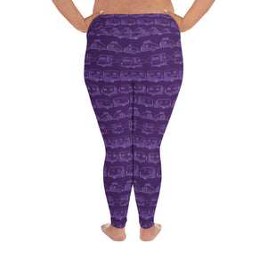 Leggings for women with curves, Vintage Trailers, two-tone purple, back view