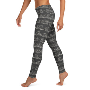 Leggings for women — Vintage Trailer Grid — Two-tone dark grey, left side view