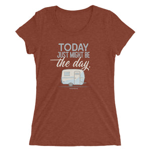 Women's retro t-shirt, vintage Boler trailer. Today Just Might Be The Day. Clay red triblend.