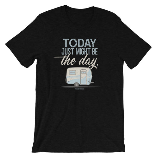 Retro t-shirt, vintage Boler trailer. Today Might Be The Day. Black