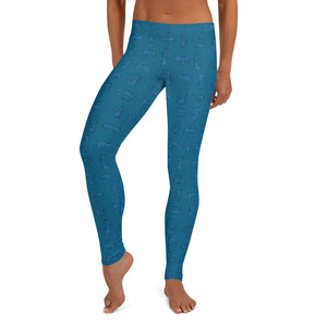 Leggings — Vintage Trailer Grid — Two-tone Blue, front view