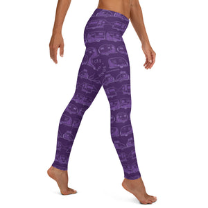 Leggings for women, Vintage Trailers, two-tone purple, right side view