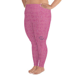 Leggings for women with curves — Vintage Trailer Grid — Two-tone pink, left side view