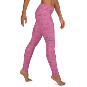Leggings for women — Vintage Trailer Grid — Two-tone pink, right side view