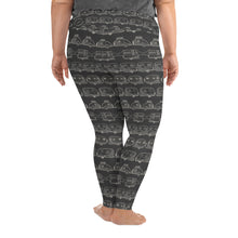 Load image into Gallery viewer, Leggings for women with curves — Vintage Trailer Grid — Two-tone dark grey, back view
