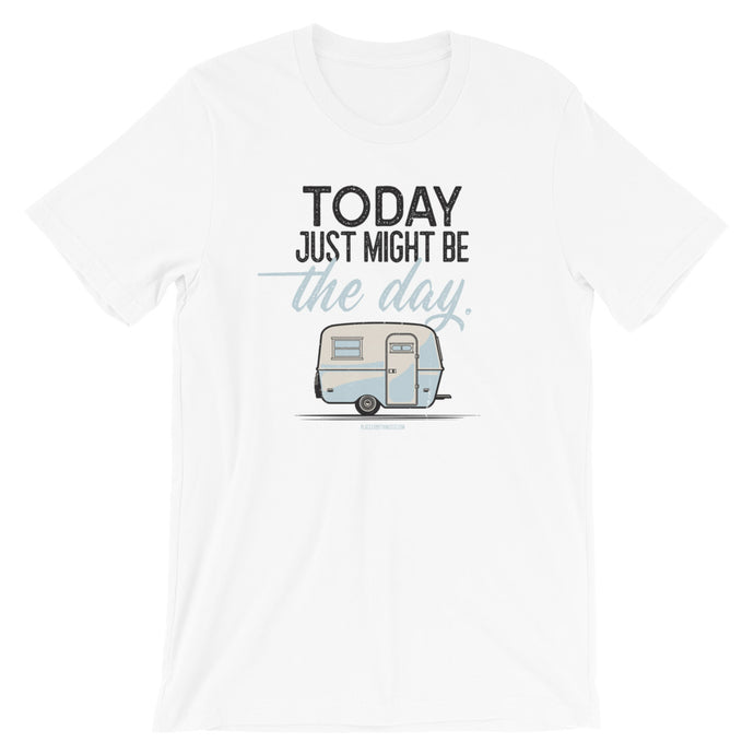 Retro t-shirt, vintage Boler trailer. Today Just Might Be The Day. White.