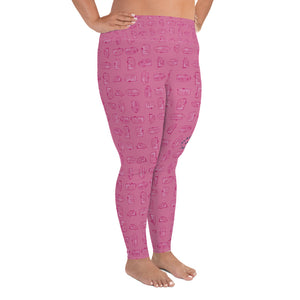 Leggings for women with curves — Vintage Trailer Grid — Two-tone pink, right side view