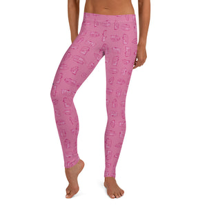 Leggings for women — Vintage Trailer Grid — Two-tone pink, front view