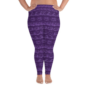 Leggings for women with curves, Vintage Trailers, two-tone purple, front view