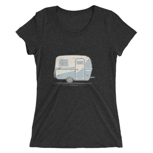 Woman's T-shirt featuring a vintage Boler trailer design, charcoal grey.