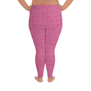 Leggings for women with curves — Vintage Trailer Grid — Two-tone pink, back view