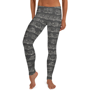 Leggings for women — Vintage Trailer Grid — Two-tone dark grey, front view