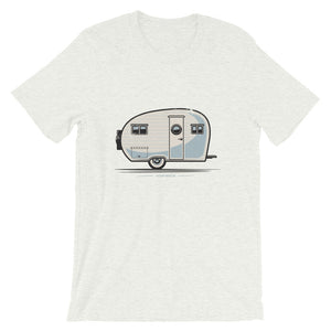 T-shirt with vintage canned ham trailer, ash grey.