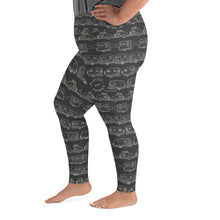 Load image into Gallery viewer, Leggings for women with curves — Vintage Trailer Grid — Two-tone dark grey, left side view
