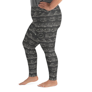 Leggings for women with curves — Vintage Trailer Grid — Two-tone dark grey, left side view