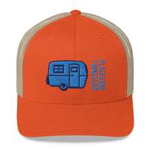 Load image into Gallery viewer, Trucker Cap — Egg-On-Wheels, blue