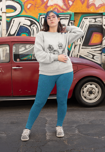 Young woman wearing leggings for women with curves — Vintage Trailer Grid — Two-tone Blue.
