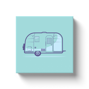 Canvas wrap art print, vintage Airstream trailer, solid background.