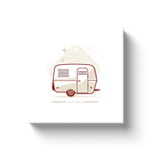 Canvas wrap art print, vintage Boler trailer, retro background.