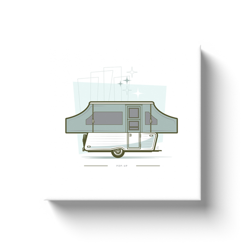 Canvas wrap art print, vintage pop-up trailer, retro background.