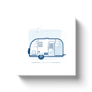 Canvas wrap art print, vintage Airstream trailer, retro background.