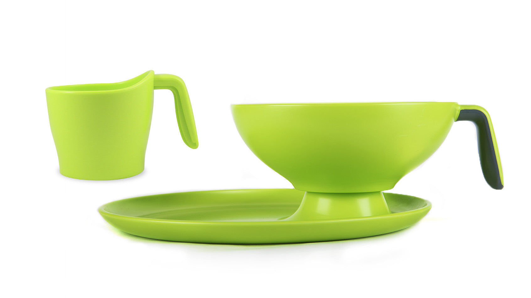 1 Ripple Set - Green with gray handle bowl, cup and plate