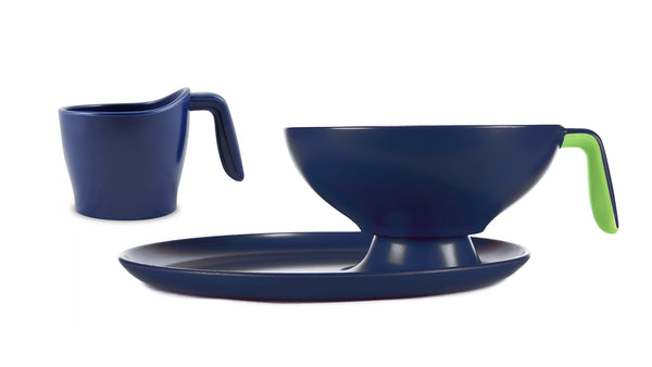 1 Ripple Set- Navy blue with green handle bowl, cup and plate