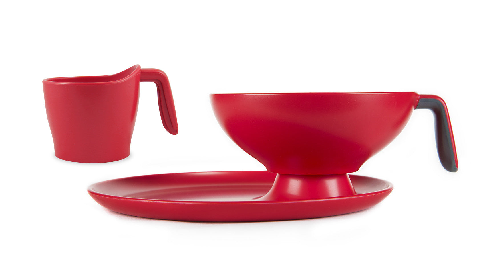 1 Ripple Set - Red with gray handle bowl, cup and plate